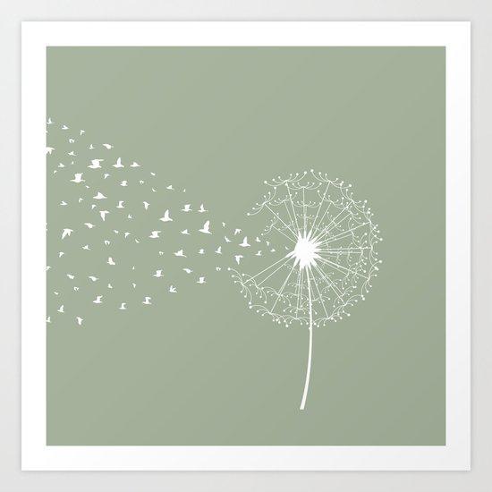 Dandelion and birds - fern color Art Print