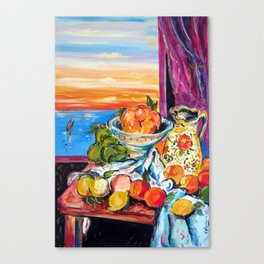 Still life homage to Cezanne Canvas Print