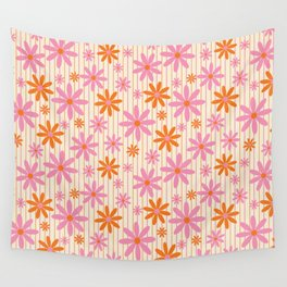 Bohemian Retro 70s Groovy Daisy Pattern with Stripes, Vintage Daisies in Hot Orange and Pink Wall Tapestry