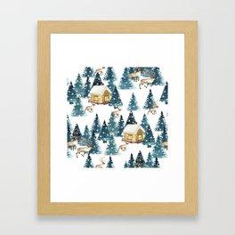 Winter village Framed Art Print