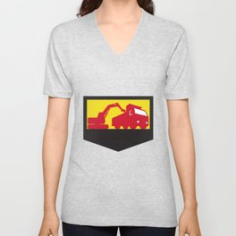 Mechanical Digger Loading Dump Truck Shield Retro Unisex V-Neck
