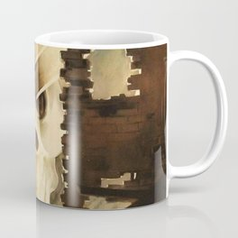 Vintage WWII Italian Skeleton Soldier in Bombed-out Ruins Poster Coffee Mug