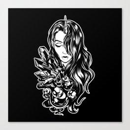 Dark Unicorn Girl Canvas Print