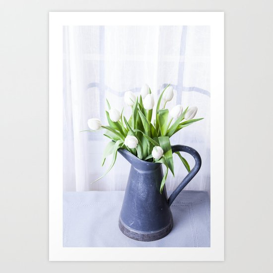 A Pitcher of Tulips - White Flowers Art Print