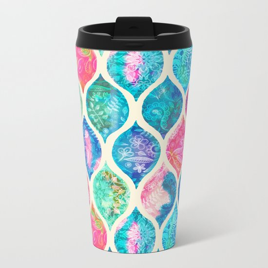Watercolor Ogee Patchwork Pattern Metal Travel Mug