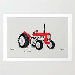 Vintage Tractor Red Art Print