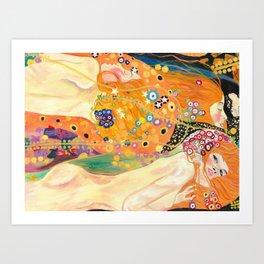 Klimt Study (Water Serpents) Art Print