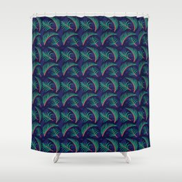 Vibrant Forest Ferns - Navy Shower Curtain