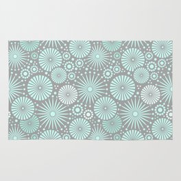 Mint and grey geometric flowers Rug