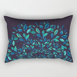 Blue Leaves Mandala Rectangular Pillow