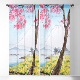 cherry blossom and Mount Fuji Japanese woodblock arts Blackout Curtain