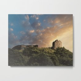 Sunset over castle ruins in Bernkastel-kues - Travel photography - Photo print of the mosel region, Germany, europe Metal Print