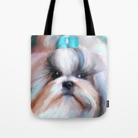 shih tzu Tote Bags featuring Little Boy Shih Tzu by Jai Johnson