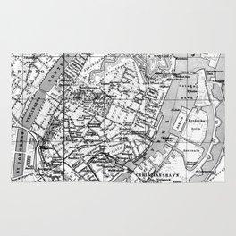 Vintage Map of Copenhagen Denmark (1888) BW Rug