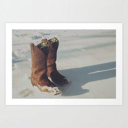Cowboy Boots in Snow Art Print