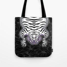 TIBETAN TIGER - WHITE (black) Tote Bag