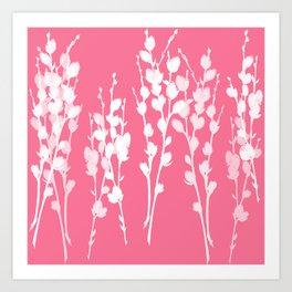 Big Azalea Pink Pussywillow Silhouettes Art Print