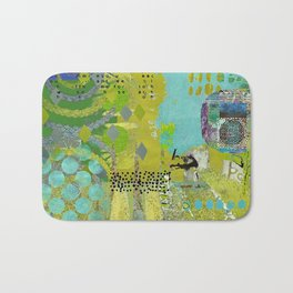 Being Green Abstract Art Collage Bath Mat