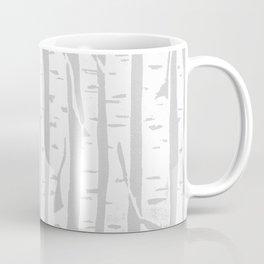 Woodcut Birches Grey Coffee Mug