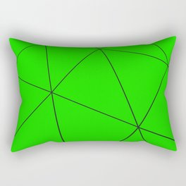 Green low poly displaced surface with black lines Rectangular Pillow