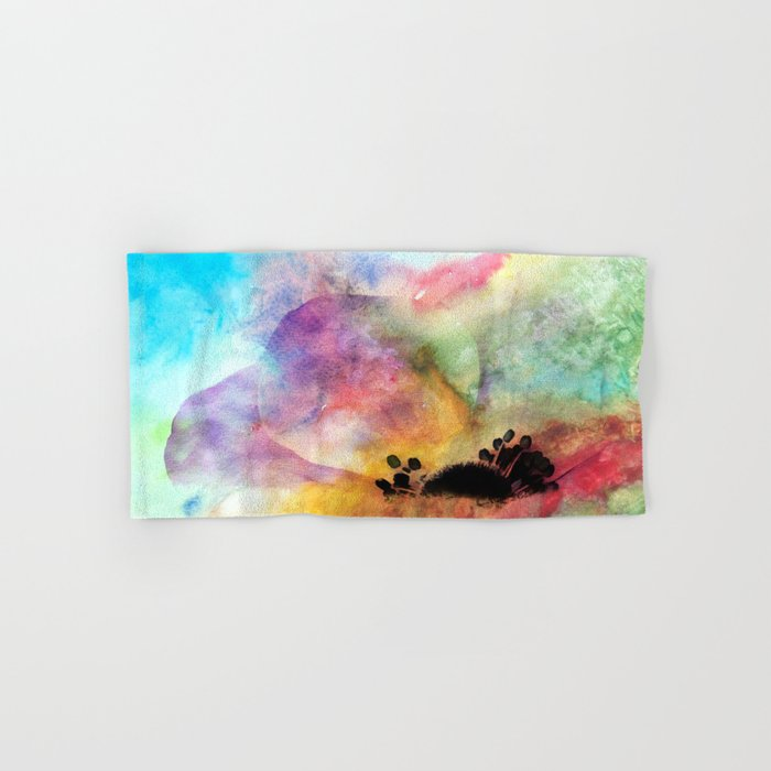 Abstract anemone one colorful  watercolor Hand & Bath Towel