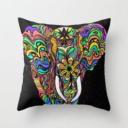 Cosmic elephant love Throw Pillow