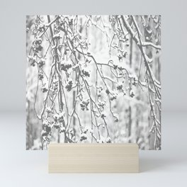Cloudy Day In The Forest B&W Snowy Rowan Branches With Berries #decor #society6 #homedecor Mini Art Print