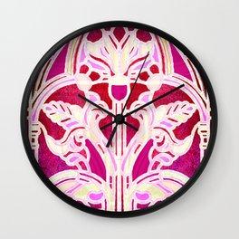 Pink Purple and Red Art Nouveau Batik Pattern Wall Clock