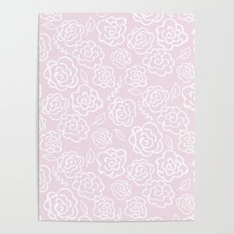 Floral Outlines - White/Blush Poster