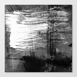 Spectral // black and white abstract ink painting Canvas Print