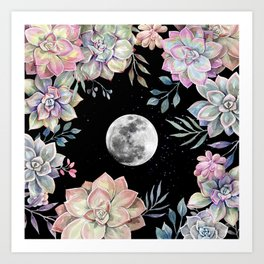 succulent full moon 4 Art Print