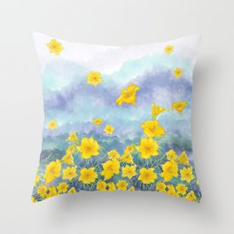 Stella D'Oro Daylily flowers over clouds Throw Pillow