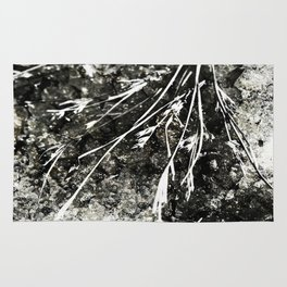 Grunge Monochrome Semi Abstract Nature Theme Rug