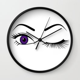 Violet Wink (Right Eye Open) Wall Clock