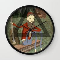 bon iver Wall Clocks featuring Bon Iver by Doug Crookston