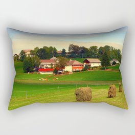 Hay bales and country village | landscape photography Rectangular Pillow