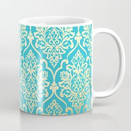Teal Gold Mermaid Damask Pattern Coffee Mug