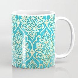 Teal Gold Mermaid Damask Pattern Coffee Mug