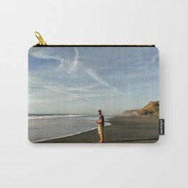boy on black sand beach in new zealand Carry-All Pouch