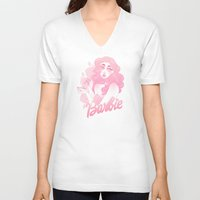 barbie V-neck T-shirts featuring Barbie by Petite Passerine