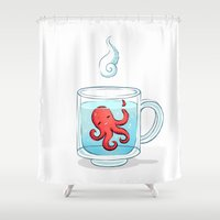 tea Shower Curtains featuring Octopus Tea by Freeminds