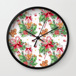 Christmas gingerbread candy cane Wall Clock