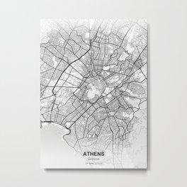 athens greece city map white Metal Print