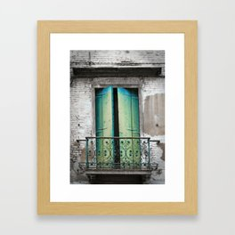 Green And Blue Balcony Doors, Venice Framed Art Print