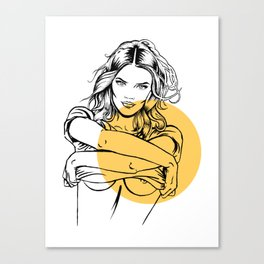 Sexy woman taking off a T-shirt, from Inner world series, #011 Canvas Print
