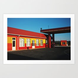 Remote red and yellow fuel station Art Print