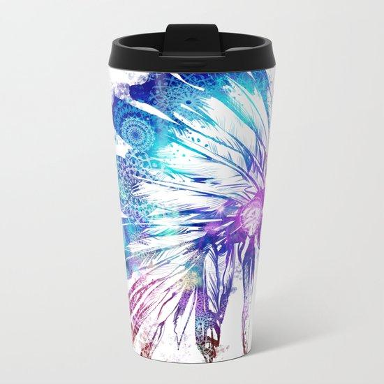 mandala colorful headdress Metal Travel Mug
