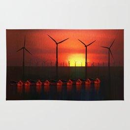 Boats at Sunset (Digital Art) Rug