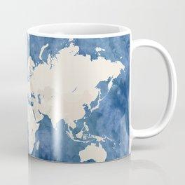 Navy blue watercolor and light brown world map Coffee Mug