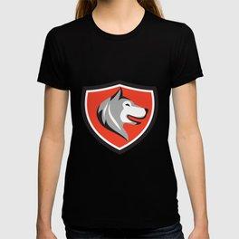 Husky Dog Head Shield Retro T-shirt